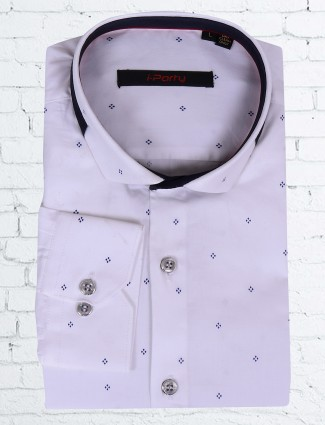 I Party white printed shirt for men
