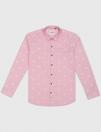I Real pink printed casual wear shirt