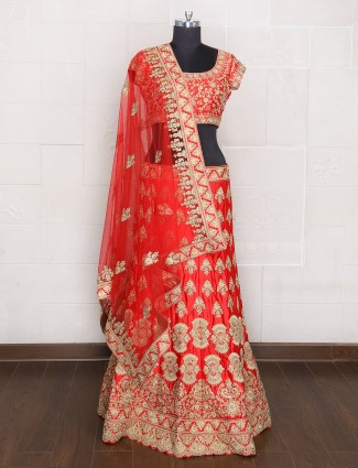 Impressive unstitched red lehenga choli