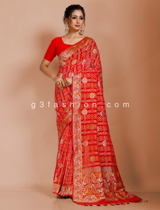 Indian red art georgette bandhej saree