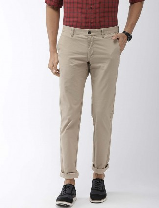 Indian Terrain beige color solid casual trouser