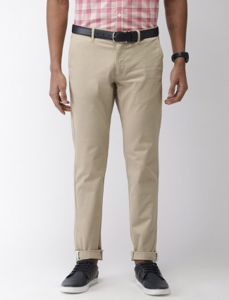 Indian Terrain beige hued solid cotton trouser