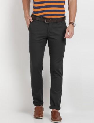 Indian Terrain black cotton slim fit trouser