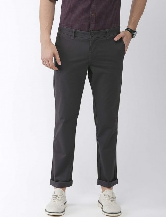 Indian Terrain black solid cotton trouser