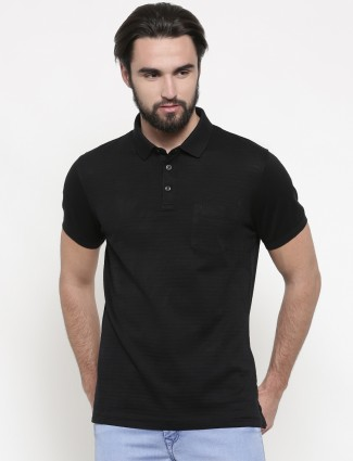 Indian Terrain black stripe cotton casual t-shirt