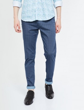 Indian Terrain blue color checks trouser