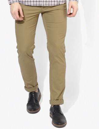 Indian Terrain brooklyn fit plain beige cotton trouser