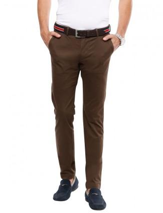 Indian Terrain brown cotton casual men brooklyn fit plain trouser