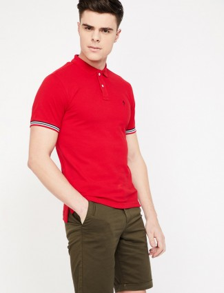 Indian Terrain cotton solid red hue t-shirt