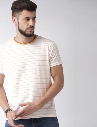 c8988ddb310 Indian Terrain cream stripe cotton t-shirt