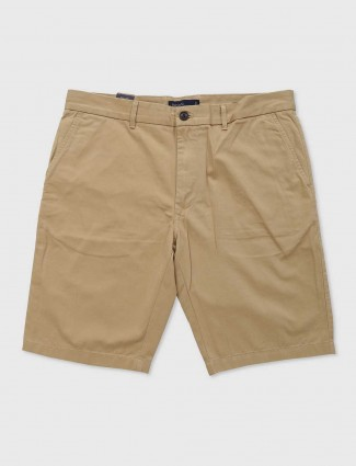 Indian Terrain khaki cotton slim fit shorts