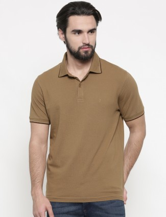 Indian Terrain light brown plain t-shirt