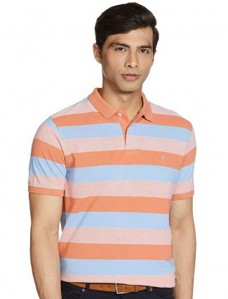 Indian Terrain orange and sky striped t-shirt