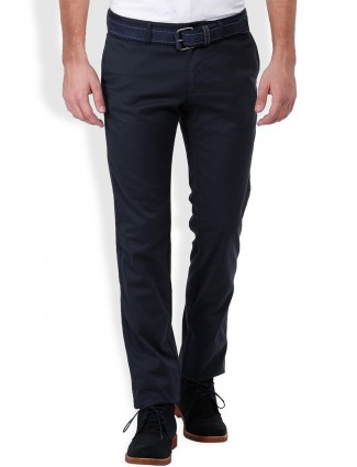 Indian Terrain plain casual men navy brooklyn fit cotton trouser