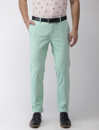 Indian Terrain sea green cotton solid trouser