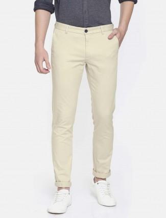 Indian Terrain slim fit cream trouser