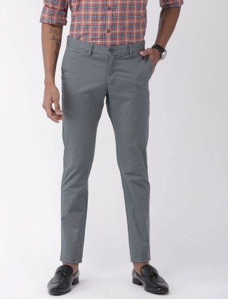 Indian Terrain slim fit grey printed trouser