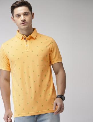 Indian Terrain slim fit yellow printed t-shirt