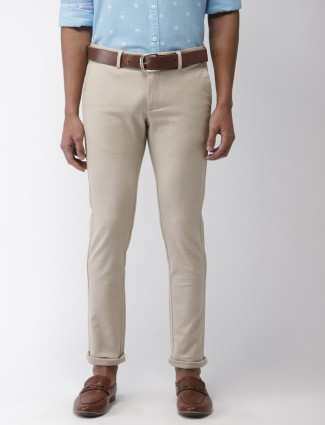 Indian Terrain solid cream hued trouser