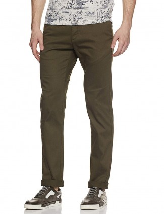 Indian Terrain solid olive colored trouser
