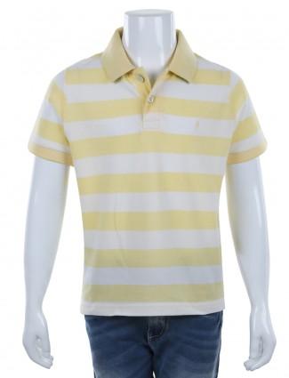 Indian Terrain stripe yellow white cotton casual polo T shirt
