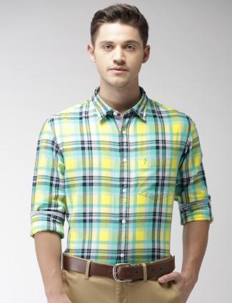 Indian Terrain yellow and green checks shirt