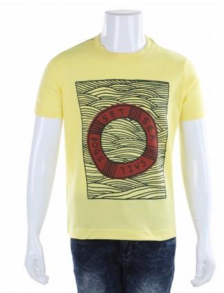 Indian Terrain yellow casual wear printed cotton boys t-shirt
