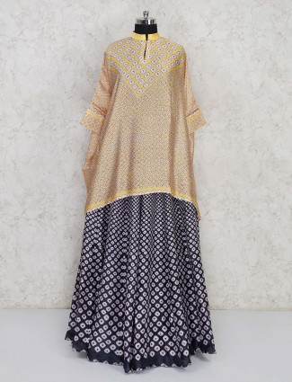 Indo western dress in yellow and black