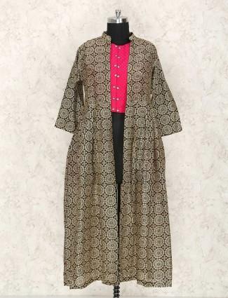 Indo western jacket style magenta and brown punjabi suit
