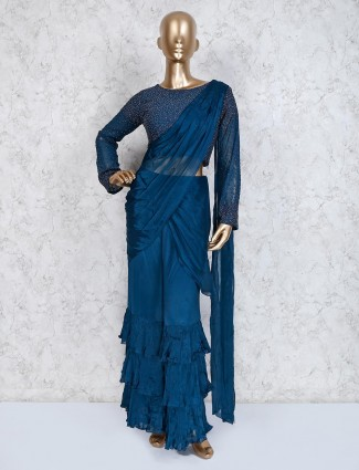 Indo western sharara suit in blue satin