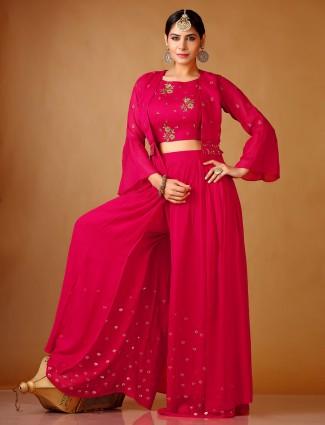 Indo western style magenta salwar suit in georgette