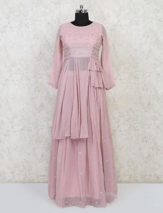 Indo western style pink georgtte lehenga suit