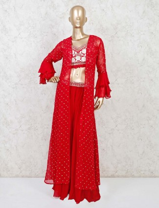 Indo western style red salwar suit in georgette