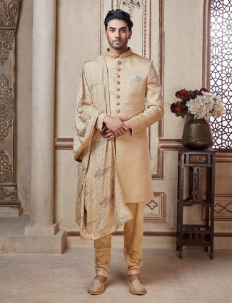 Indo western suit in khaki terry rayon