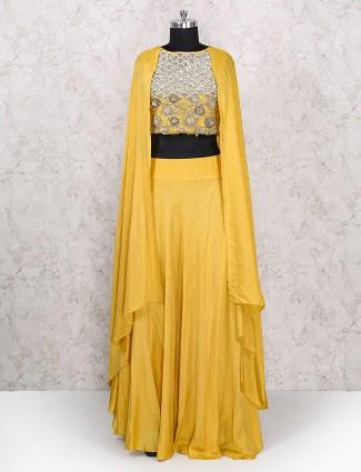 Indo western yellow lehenga choli