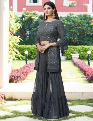 Indowestern grey designer georgette sharara suit