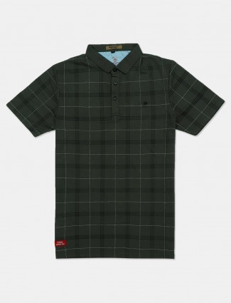 Instinto casual wear green checks t-shirt