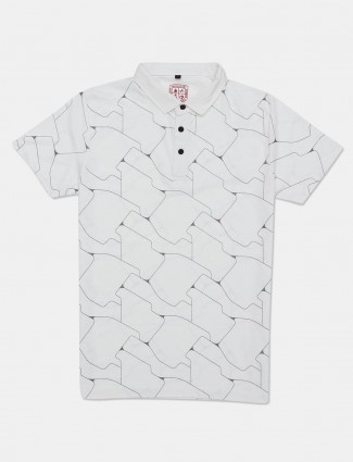 Instinto casual wear white printed t-shirt
