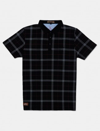 Instinto checks black cotton t-shirt