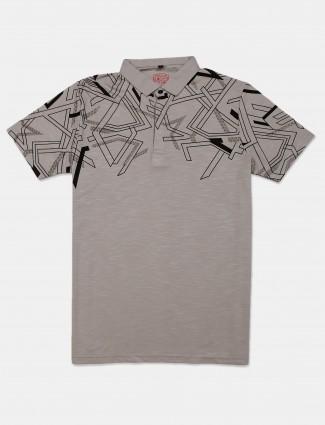 Instinto grey half sleeves printed t-shirt