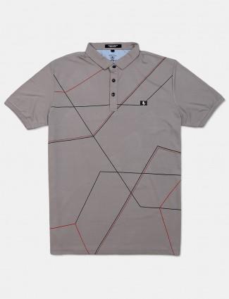 Instinto grey printed cotton mens t-shirt