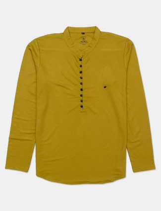 Instinto half buttoned placket yellow solid t-shirt