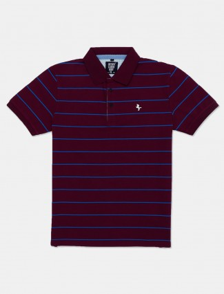 Instinto maroon polo neck stripe t-shirt