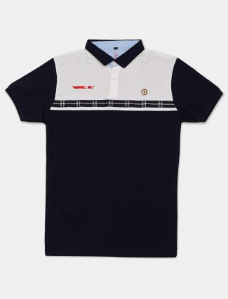 Instinto navy and white solid t-shirt