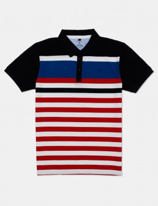 Instinto red and white stripe cotton t-shirt