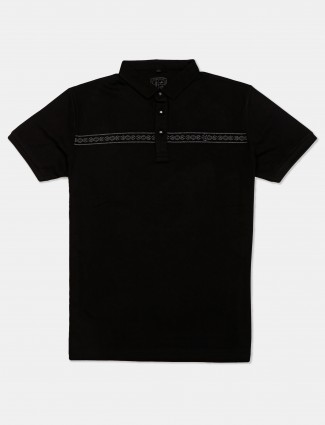 Instinto solid black casual cotton t-shirt