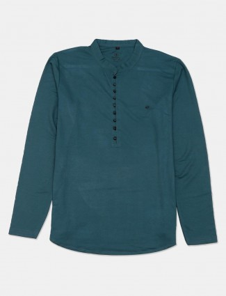 Instinto teal green solid cotton t-shirt