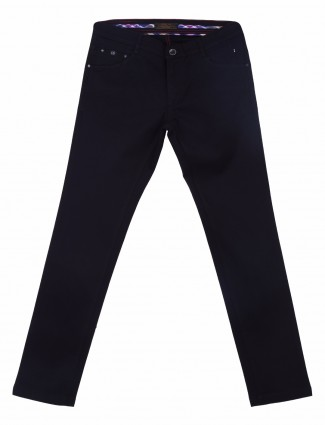 Irony plain navy slim fit men casual wear cotton trouser