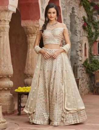 Ivory silk lehenga choli for wedding ceremony