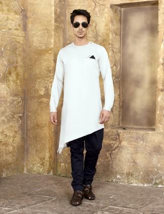 Ivory white simple cotton kurta suit